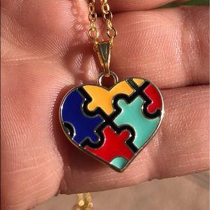 Autism awareness heart necklace